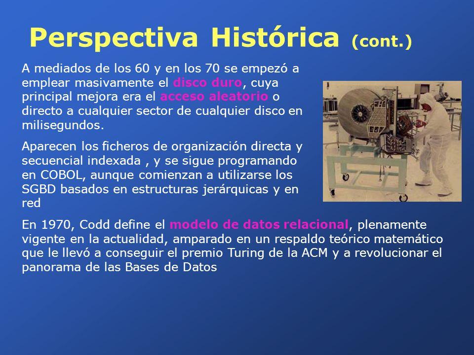 Perspectiva Histórica (cont.) A mediados de los 60 y en los 70 se empezó a emplear masivamente el disco duro, cuya principal mejora era el acceso alea
