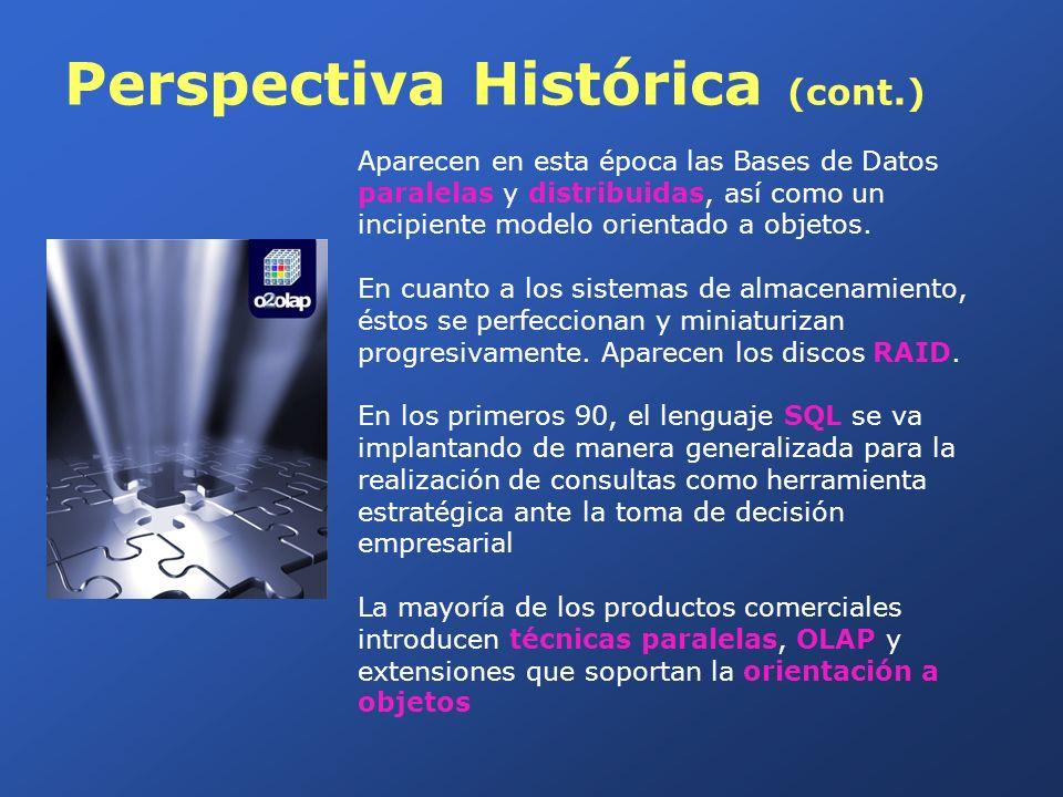Perspectiva Histórica (cont.) Aparecen en esta época las Bases de Datos paralelas y distribuidas, así como un incipiente modelo orientado a objetos. E