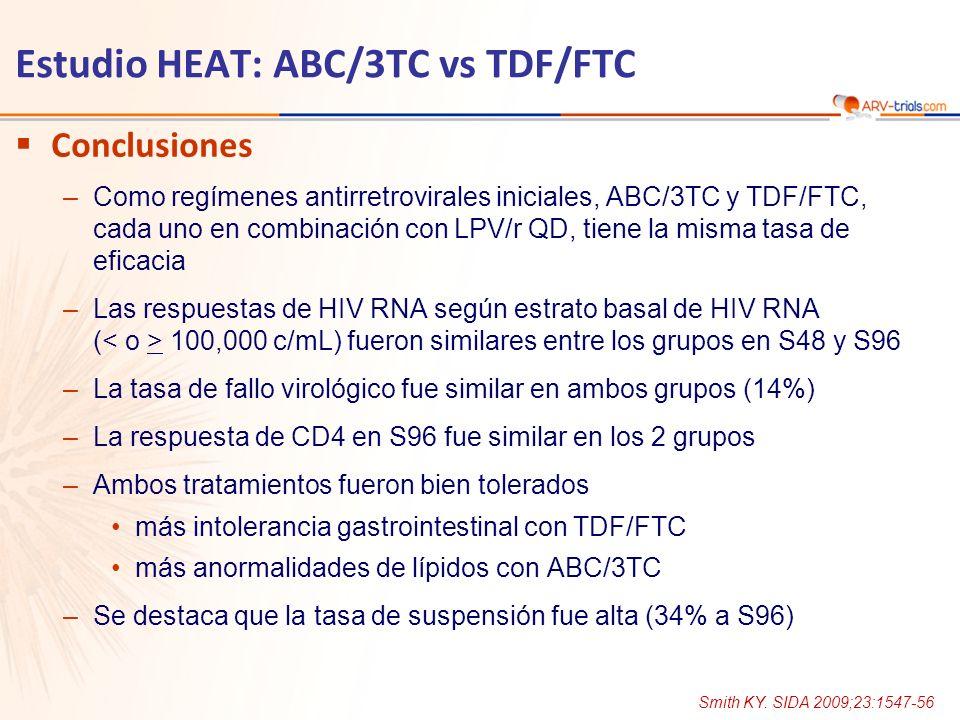 Estudio HEAT: ABC/3TC vs TDF/FTC Conclusiones –Como regímenes antirretrovirales iniciales, ABC/3TC y TDF/FTC, cada uno en combinación con LPV/r QD, ti