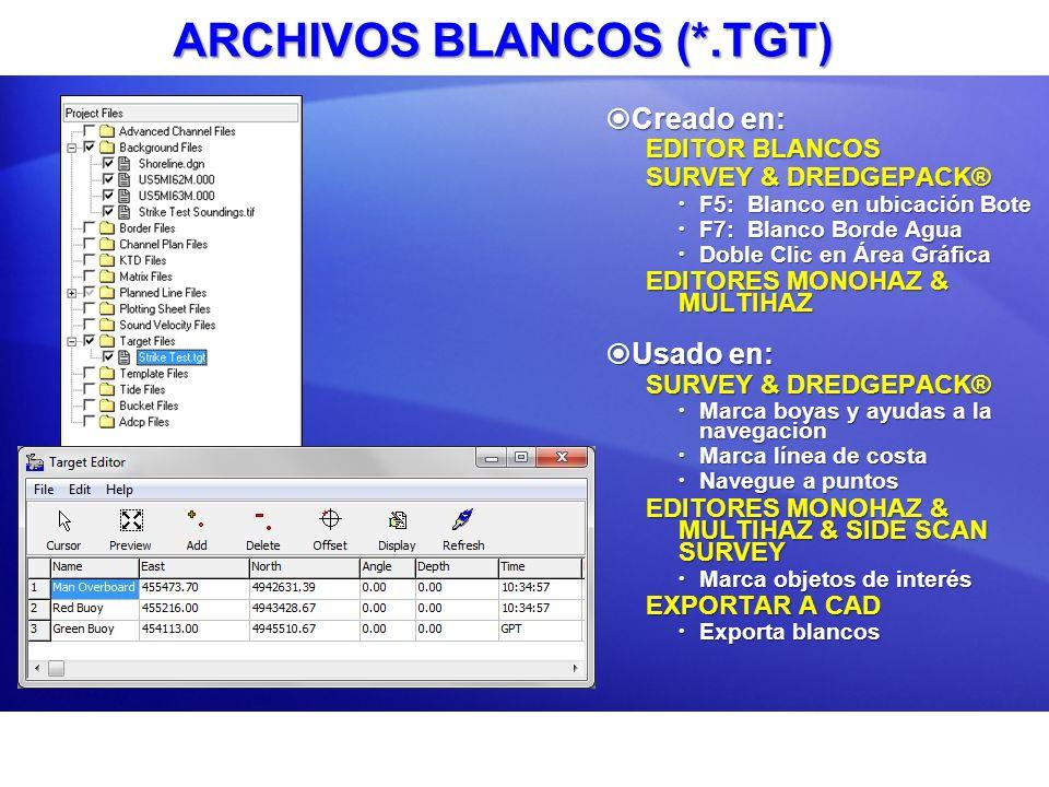 ARCHIVOS BLANCOS (*.TGT) Creado en: Creado en: EDITOR BLANCOS SURVEY & DREDGEPACK® F5: Blanco en ubicación Bote F5: Blanco en ubicación Bote F7: Blanc