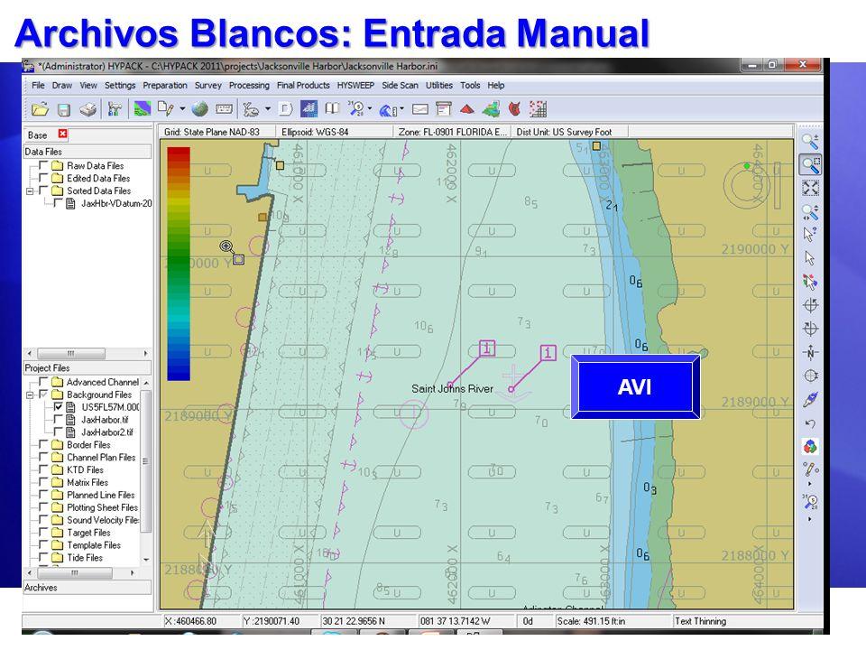 Archivos Blancos: Entrada Manual Use el Editor de Blancos. Clic en el botón Agregar - Add por cada blanco. Entre: Nombre (opcional) X (o Latitud WGS-8