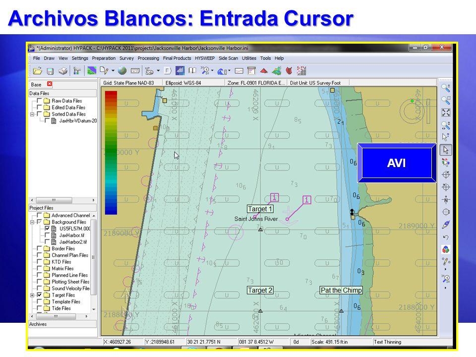 Archivos Blancos: Entrada Cursor Use el Editor de Blancos. Clic en el icono Cursor. Clic el Área Gráfica en cada ubicación de blanco. Edite los nombre