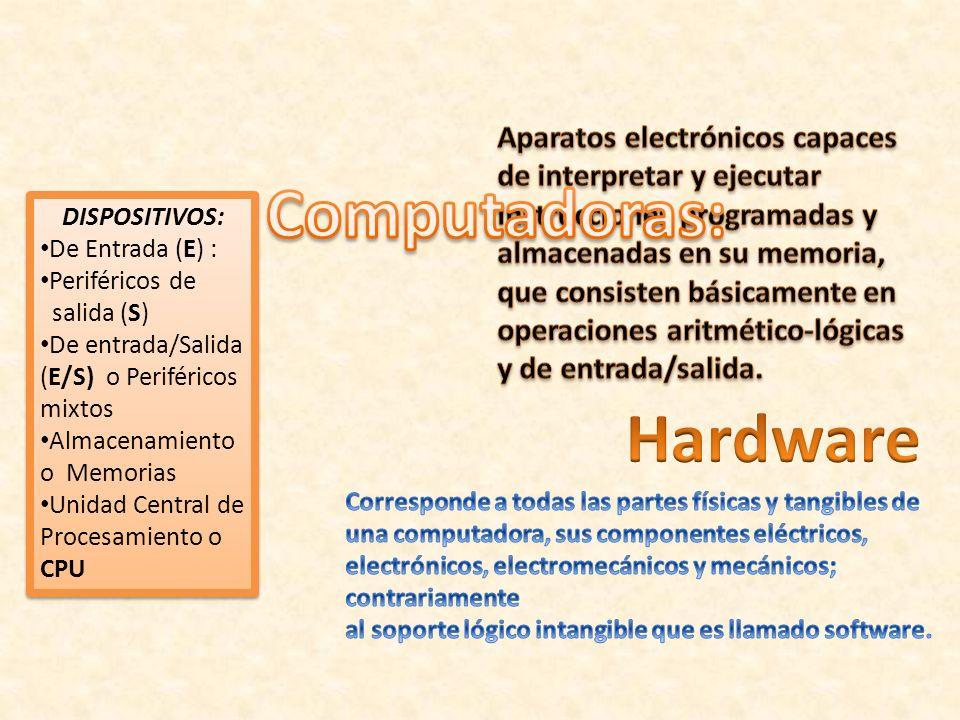 DISPOSITIVOS: De Entrada (E) : Periféricos de salida (S) De entrada/Salida (E/S) o Periféricos mixtos Almacenamiento o Memorias Unidad Central de Proc
