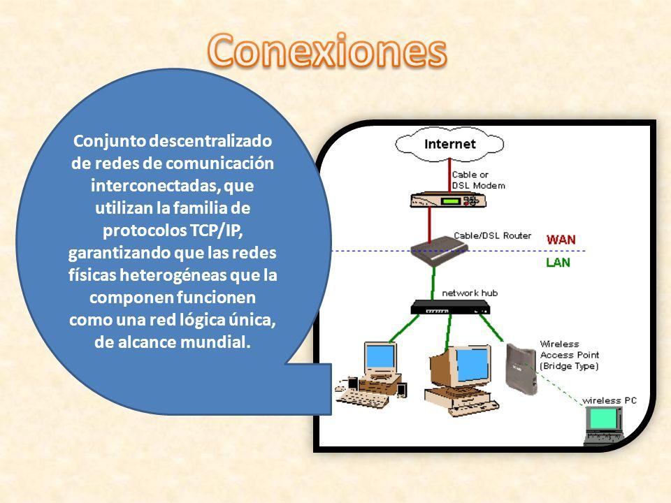 Conjunto descentralizado de redes de comunicación interconectadas, que utilizan la familia de protocolos TCP/IP, garantizando que las redes físicas he