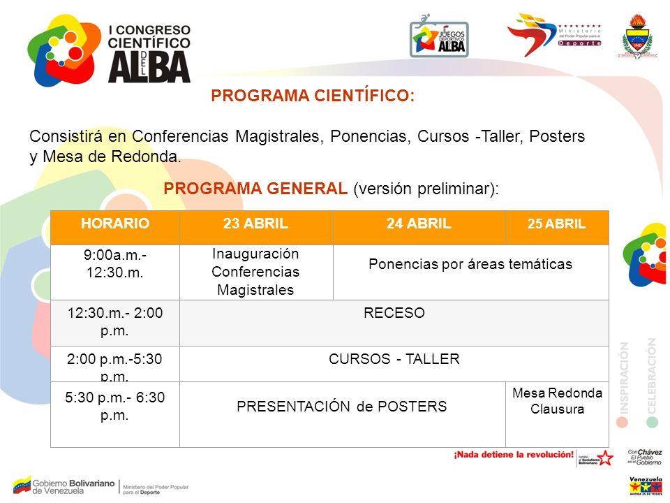 HORARIO23 ABRIL24 ABRIL 25 ABRIL 9:00a.m.- 12:30.m. Inauguración Conferencias Magistrales Ponencias por áreas temáticas 12:30.m.- 2:00 p.m. RECESO 2:0