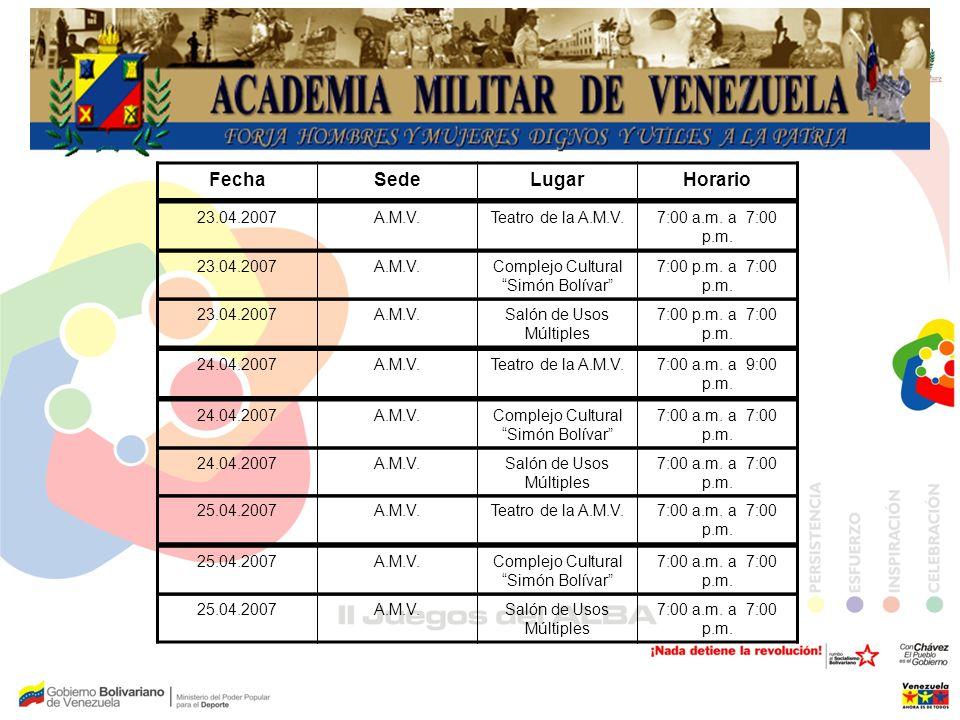 FechaSedeLugarHorario 23.04.2007A.M.V.Teatro de la A.M.V.7:00 a.m. a 7:00 p.m. 23.04.2007A.M.V.Complejo Cultural Simón Bolívar 7:00 p.m. a 7:00 p.m. 2