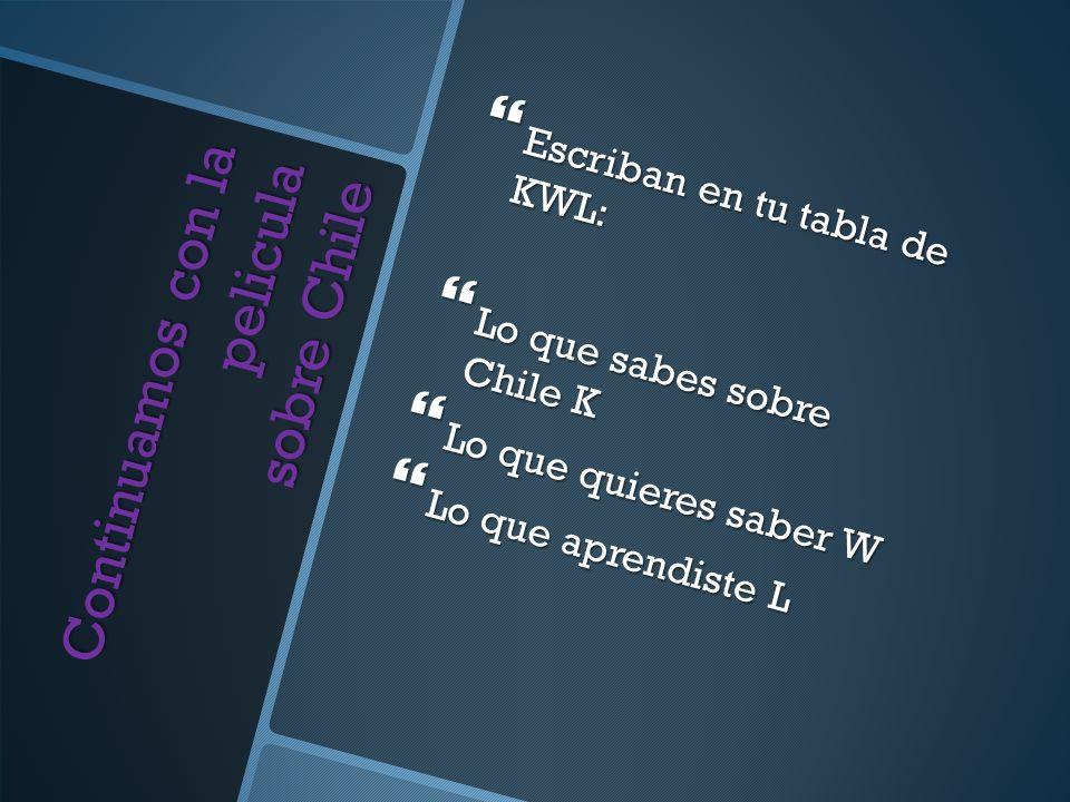 Continuamos con la pelicula sobre Chile Escriban en tu tabla de KWL: Escriban en tu tabla de KWL: Lo que sabes sobre Chile K Lo que sabes sobre Chile K Lo que quieres saber W Lo que quieres saber W Lo que aprendiste L Lo que aprendiste L