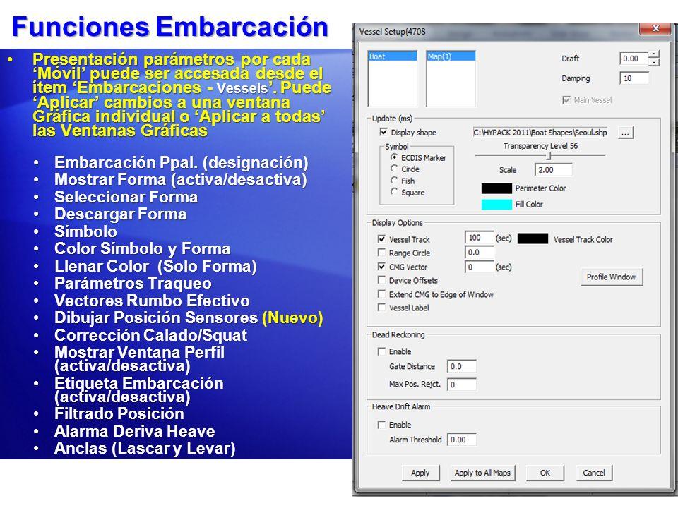 Funciones Embarcación Presentación parámetros por cada Móvil puede ser accesada desde el ítem Embarcaciones - Vessels. Puede Aplicar cambios a una ven