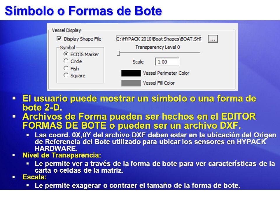 Símbolo o Formas de Bote El usuario puede mostrar un símbolo o una forma de bote 2-D. El usuario puede mostrar un símbolo o una forma de bote 2-D. Arc