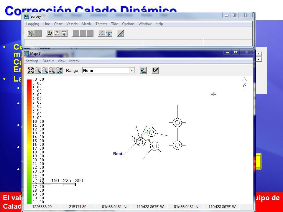 Corrección Calado Dinámico Como una opción, el usuario puede manualmente establecer la corrección de Calado Dinámico desde la ventana Embarcación de l
