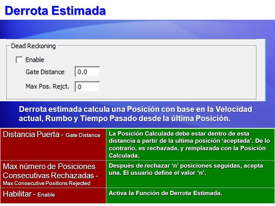 Derrota Estimada Distancia Puerta - Gate Distance La Posición Calculada debe estar dentro de esta distancia a partir de la ultima posición aceptada. D