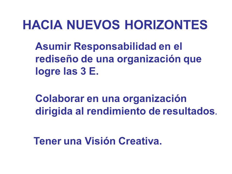 HACIA NUEVOS HORIZONTES Asumir Responsabilidad en el rediseño de una organización que logre las 3 E. Colaborar en una organización dirigida al rendimi