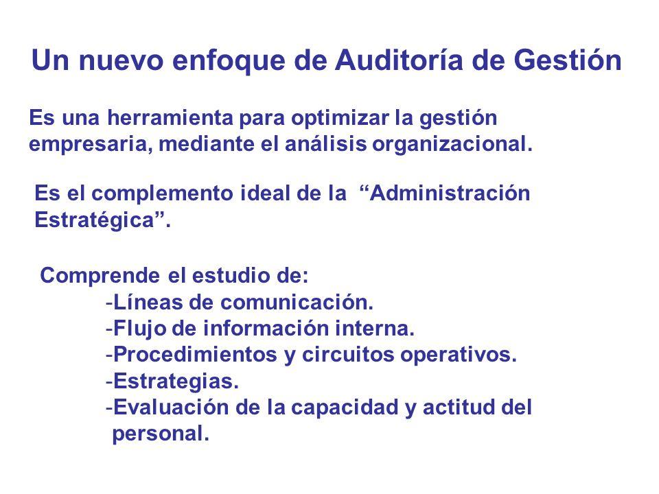 Un nuevo enfoque de Auditoría de Gestión Es una herramienta para optimizar la gestión empresaria, mediante el análisis organizacional. Es el complemen