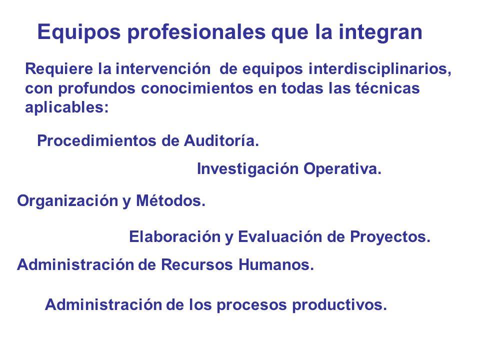 Equipos profesionales que la integran Requiere la intervención de equipos interdisciplinarios, con profundos conocimientos en todas las técnicas aplic