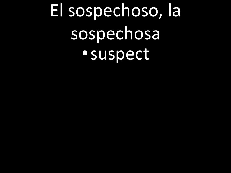 El sospechoso, la sospechosa suspect