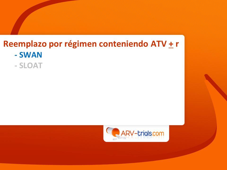 Reemplazo por régimen conteniendo ATV + r - SWAN - SLOAT