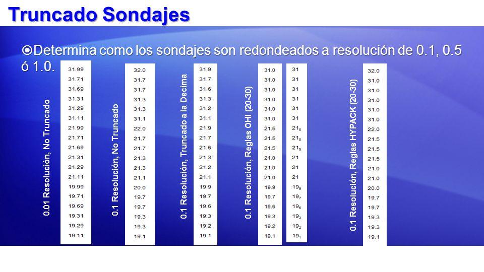 Truncado Sondajes Determina como los sondajes son redondeados a resolución de 0.1, 0.5 ó 1.0. Determina como los sondajes son redondeados a resolución