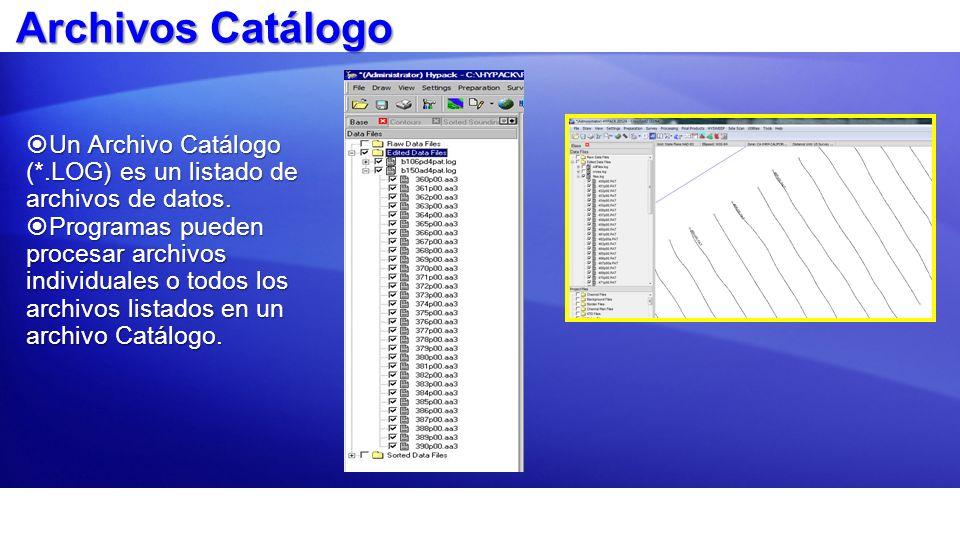 Archivos Catálogo Un Archivo Catálogo (*.LOG) es un listado de archivos de datos. Un Archivo Catálogo (*.LOG) es un listado de archivos de datos. Prog