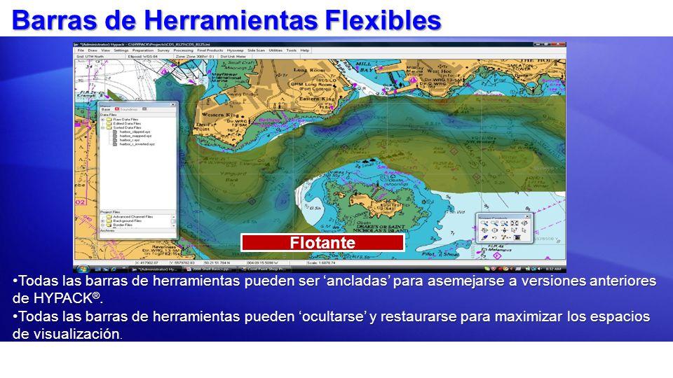 Barras de Herramientas Flexibles Por DefectoFlotante Todas las barras de herramientas pueden ser ancladas para asemejarse a versiones anteriores de HY