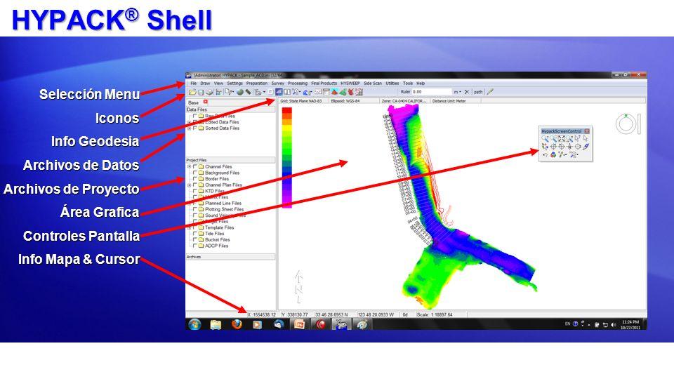 HYPACK ® Shell Selección Menu Iconos Info Geodesia Archivos de Datos Archivos de Proyecto Área Grafica Controles Pantalla Info Mapa & Cursor