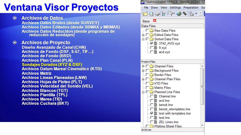 Ventana Visor Proyectos Archivos de Datos Archivos de Datos Archivos Datos Brutos (desde SURVEY) Archivos Datos Editados (desde SBMAX y MBMAX) Archivo