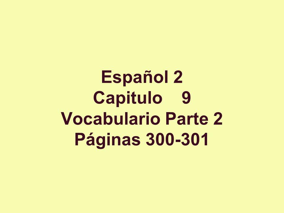 Español 2 Capitulo 9 Vocabulario Parte 2 Páginas 300-301