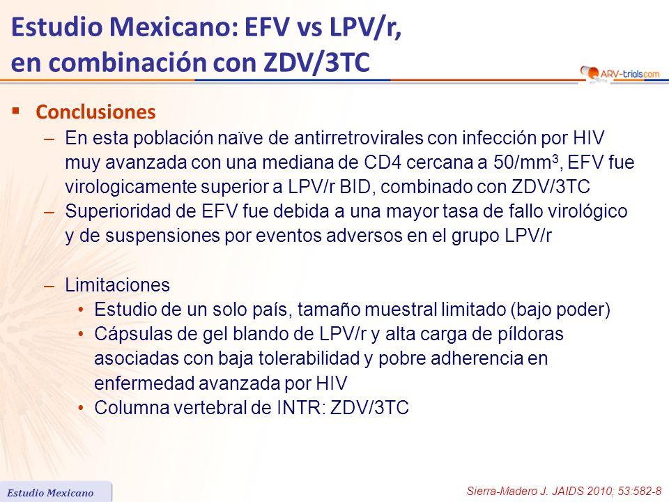 Conclusiones –En esta población naïve de antirretrovirales con infección por HIV muy avanzada con una mediana de CD4 cercana a 50/mm 3, EFV fue virolo