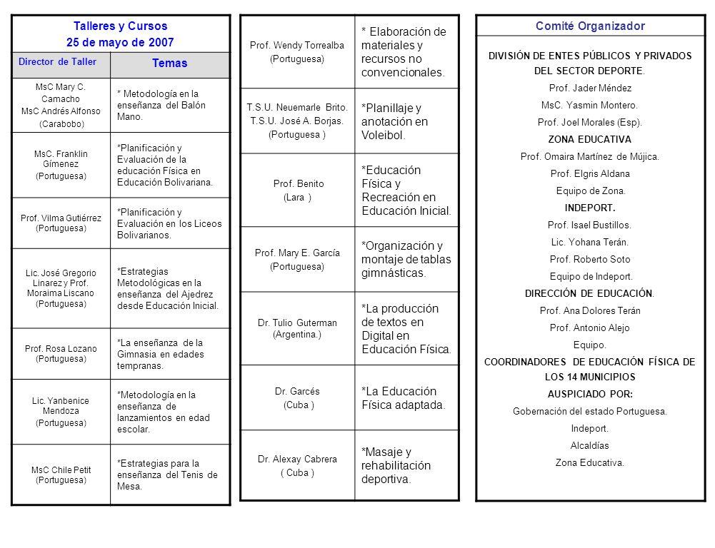 Programa de Apertura Miércoles 23 / 05/ 2007 Centro de Convenciones Himnos Ministro del Poder Popular para la Educación.