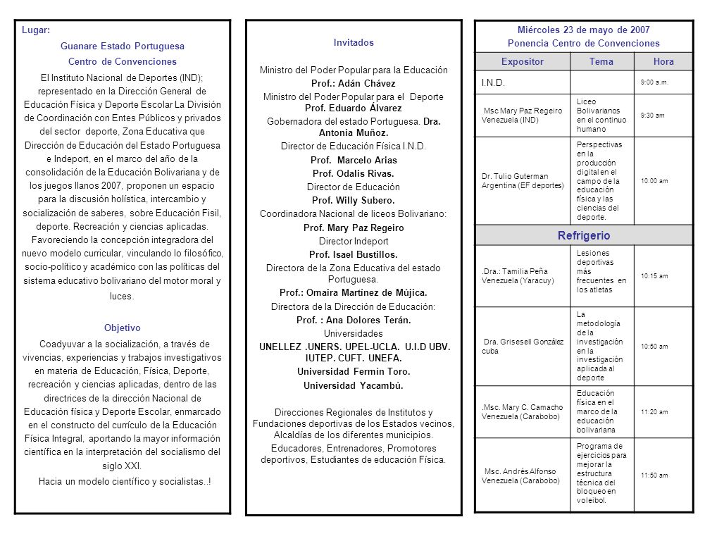 Lugar: Guanare Estado Portuguesa Centro de Convenciones El Instituto Nacional de Deportes (IND); representado en la Dirección General de Educación Física y Deporte Escolar La División de Coordinación con Entes Públicos y privados del sector deporte, Zona Educativa que Dirección de Educación del Estado Portuguesa e Indeport, en el marco del año de la consolidación de la Educación Bolivariana y de los juegos llanos 2007, proponen un espacio para la discusión holística, intercambio y socialización de saberes, sobre Educación Fisil, deporte.