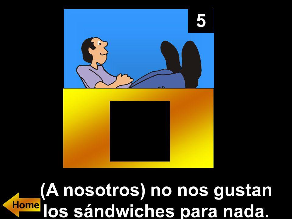 5 (A nosotros) no nos gustan los sándwiches para nada. Home