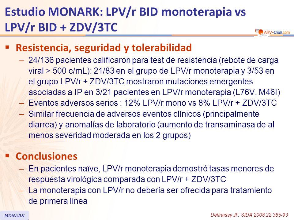 Resistencia, seguridad y tolerabilidad –24/136 pacientes calificaron para test de resistencia (rebote de carga viral > 500 c/mL): 21/83 en el grupo de LPV/r monoterapia y 3/53 en el grupo LPV/r + ZDV/3TC mostraron mutaciones emergentes asociadas a IP en 3/21 pacientes en LPV/r monoterapia (L76V, M46I) –Eventos adversos serios : 12% LPV/r mono vs 8% LPV/r + ZDV/3TC –Similar frecuencia de adversos eventos clínicos (principalmente diarrea) y anomalías de laboratorio (aumento de transaminasa de al menos severidad moderada en los 2 grupos) Conclusiones –En pacientes naïve, LPV/r monoterapia demostró tasas menores de respuesta virológica comparada con LPV/r + ZDV/3TC –La monoterapia con LPV/r no debería ser ofrecida para tratamiento de primera línea Estudio MONARK: LPV/r BID monoterapia vs LPV/r BID + ZDV/3TC Delfraissy JF.