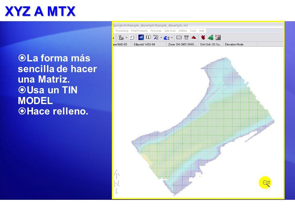 XYZ A MTX La forma más sencilla de hacer una Matriz. Usa un TIN MODEL Hace relleno.