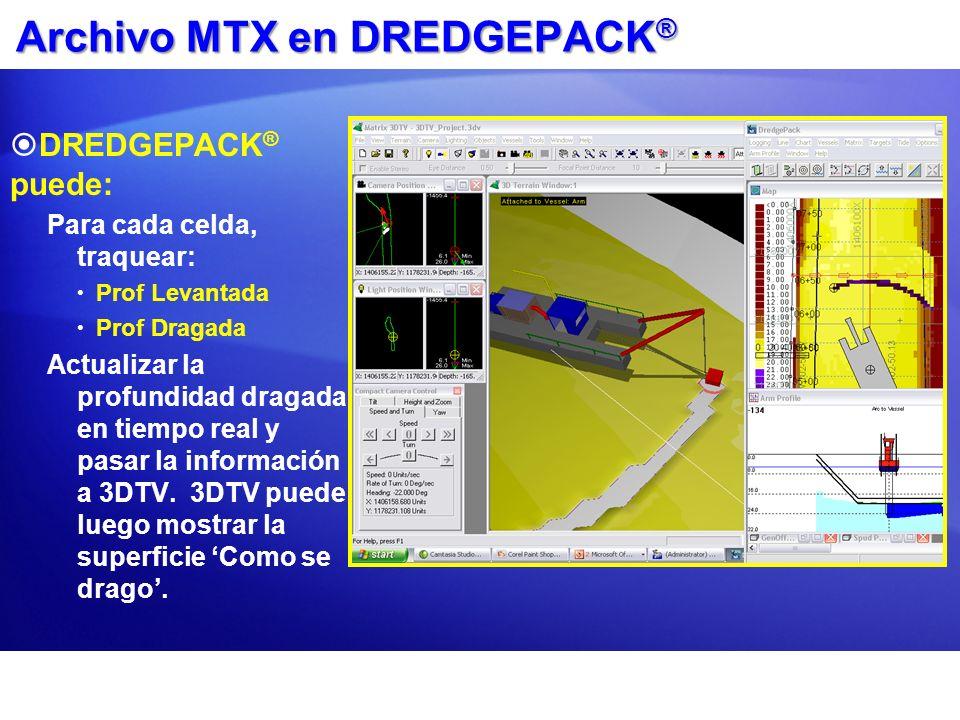 Archivo MTX en DREDGEPACK ® DREDGEPACK ® puede: Para cada celda, traquear: Prof Levantada Prof Dragada Actualizar la profundidad dragada en tiempo rea