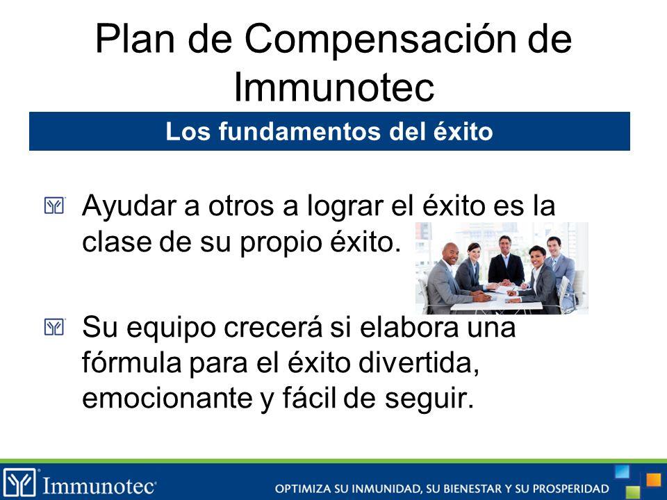Plan de Compensación de Immunotec Ayudar a otros a lograr el éxito es la clase de su propio éxito. Su equipo crecerá si elabora una fórmula para el éx