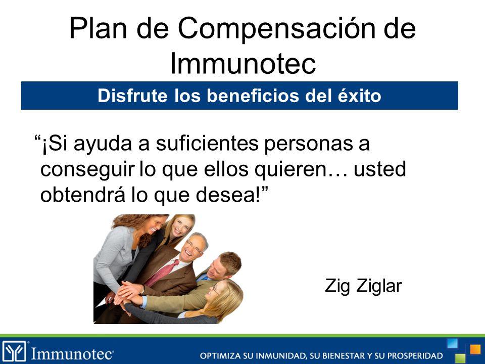 Plan de Compensación de Immunotec ¡Si ayuda a suficientes personas a conseguir lo que ellos quieren… usted obtendrá lo que desea! Zig Ziglar Disfrute