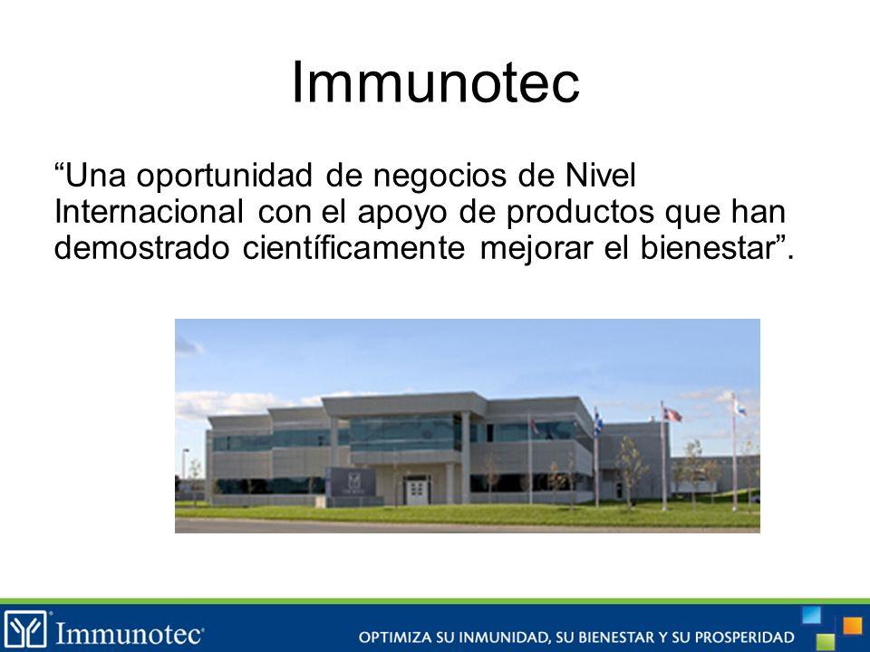 Una oportunidad de negocios de Nivel Internacional con el apoyo de productos que han demostrado científicamente mejorar el bienestar. Immunotec