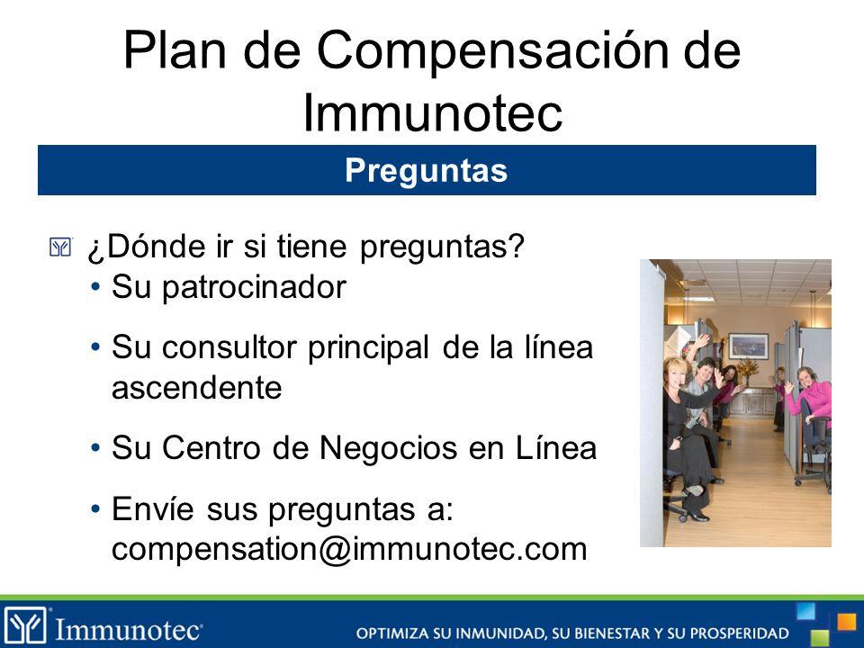 Plan de Compensación de Immunotec Preguntas ¿Dónde ir si tiene preguntas? Su patrocinador Su consultor principal de la línea ascendente Su Centro de N
