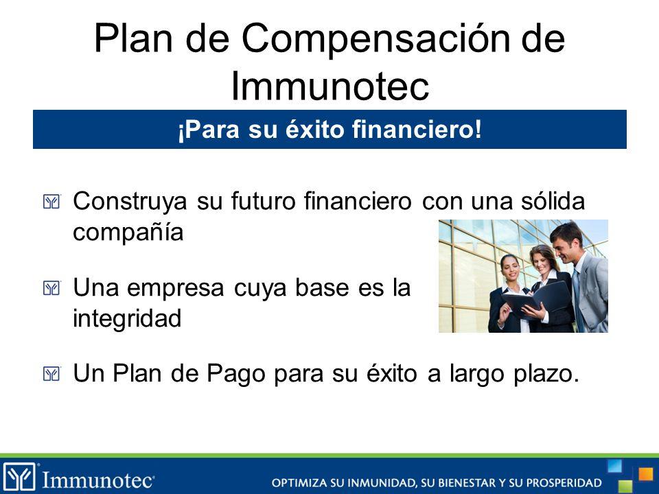 Plan de Compensación de Immunotec Construya su futuro financiero con una sólida compañía Una empresa cuya base es la integridad Un Plan de Pago para s