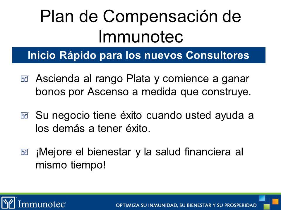 Plan de Compensación de Immunotec Ascienda al rango Plata y comience a ganar bonos por Ascenso a medida que construye. Su negocio tiene éxito cuando u