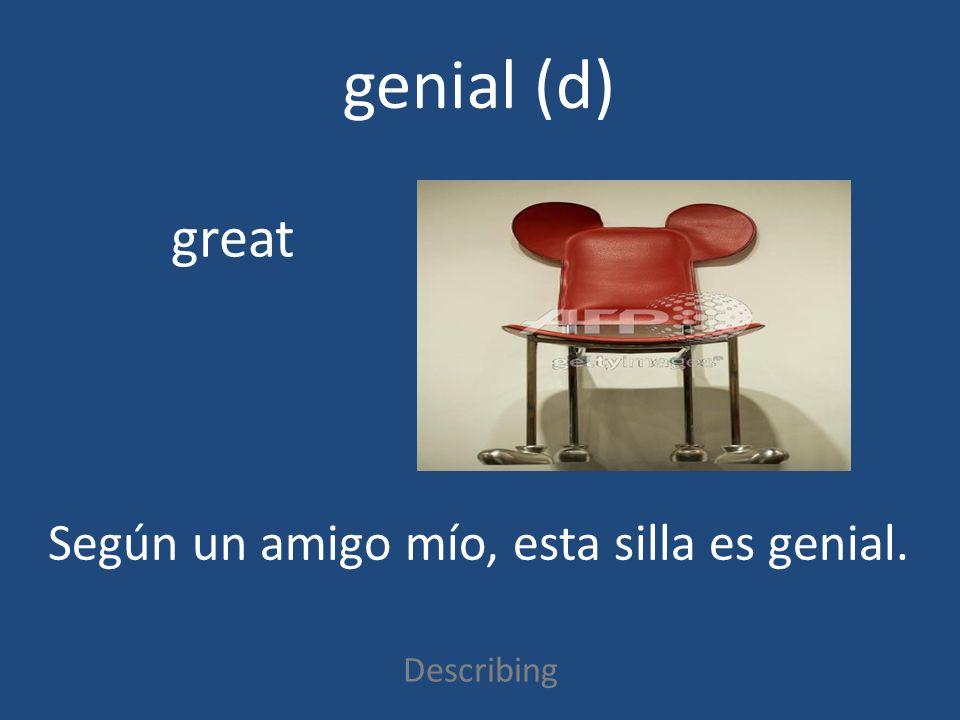 genial (d) Describing great Según un amigo mío, esta silla es genial.