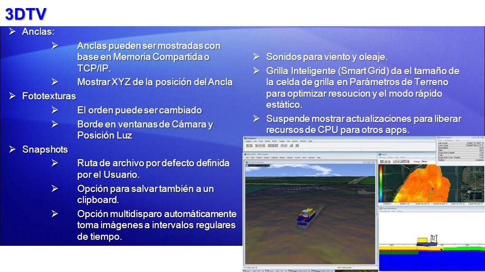 3DTV Anclas: Anclas: Anclas pueden ser mostradas con base en Memoria Compartida o TCP/IP. Anclas pueden ser mostradas con base en Memoria Compartida o