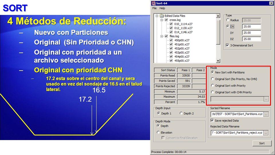 SORT 4 Métodos de Reducción: –Nuevo con Particiones –Original (Sin Prioridad o CHN) –Original con prioridad a un archivo seleccionado –Original con pr
