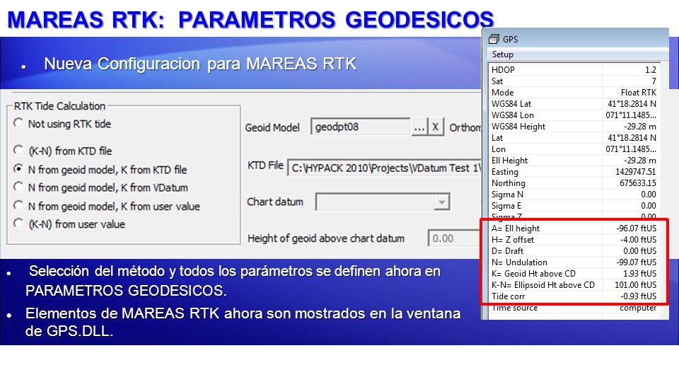 MAREAS RTK: PARAMETROS GEODESICOS Nueva Configuracion para MAREAS RTK Nueva Configuracion para MAREAS RTK Selección del método y todos los parámetros