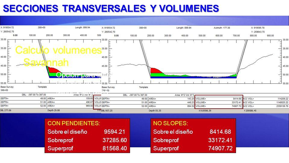 SECCIONES TRANSVERSALES Y VOLUMENES NO SLOPES: Sobre el diseño 8414.68 Sobreprof33172.41 Superprof 74907.72 Calculo volumenes Savannah –Opción para ig