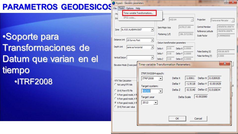 PERFILADOR SUB-BOTTOM: SUBBOT.DLL Soporte registro Sub-bottom: –Odom –SDI –Knudsen –GeoAcoustics –Edgetech –Análogo –Innomar –Syqwest