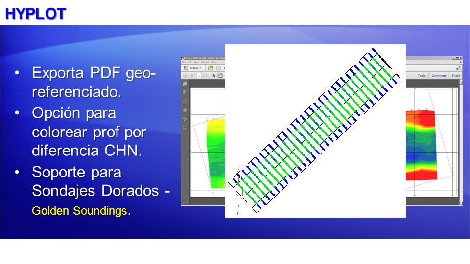 HYPLOT Exporta PDF geo- referenciado.Exporta PDF geo- referenciado. Opción para colorear prof por diferencia CHN.Opción para colorear prof por diferen