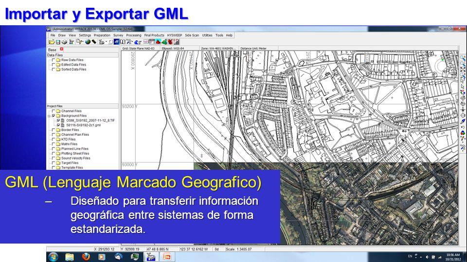 Importar y Exportar GML GML (Lenguaje Marcado Geografico) –Diseñado para transferir información geográfica entre sistemas de forma estandarizada.