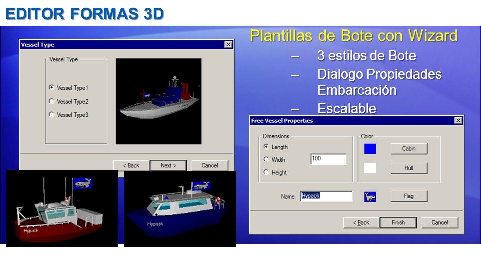 EDITOR FORMAS 3D Plantillas de Bote con Wizard –3 estilos de Bote –Dialogo Propiedades Embarcación –Escalable
