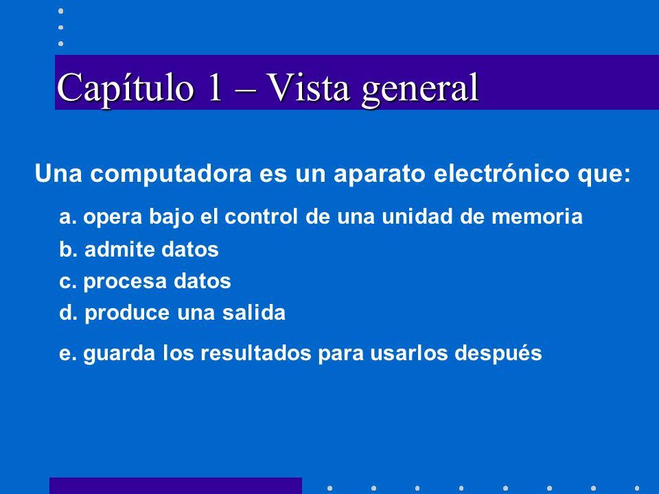 Capítulo 1 – Vista general Una computadora es un aparato electrónico que: a.