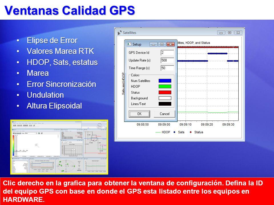 Ventanas Calidad GPS Elipse de ErrorElipse de Error Valores Marea RTKValores Marea RTK HDOP, Sats, estatusHDOP, Sats, estatus MareaMarea Error Sincron